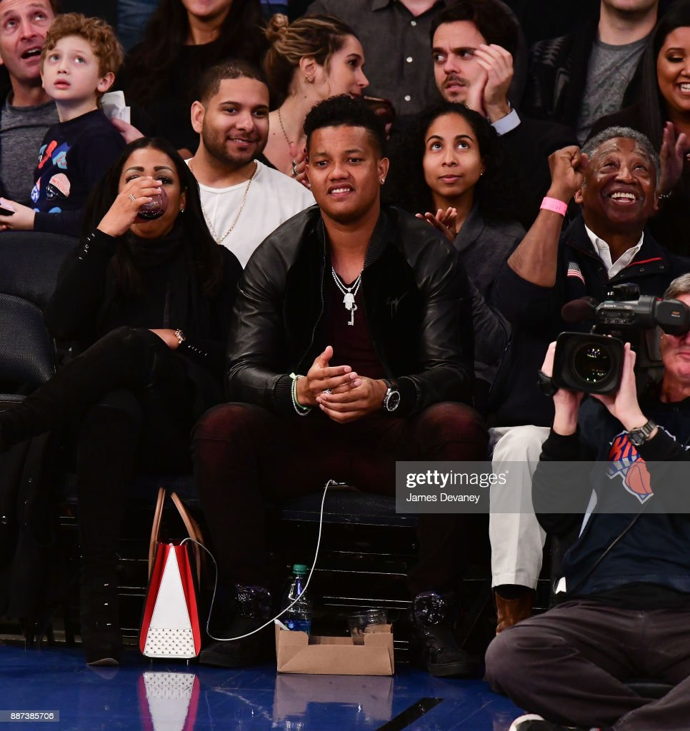 Starlin Castro attends the Memphis Grizzlies Vs New York Knicks game at Madison Square Garden on December 6, 2017 in New York City.