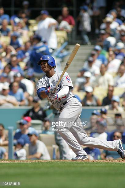 Starlin Castro of the Chicago Cubs bats during the game against the Los Angeles Dodgers at Dodger Stadium on July 10 2010 in Los Angeles California...