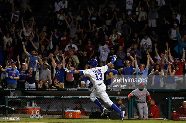 Starlin Castro of the Chicago Cubs celebrates after hitting a walkoff one run RBI single against the Cincinnati Reds during the eleventh inning at...