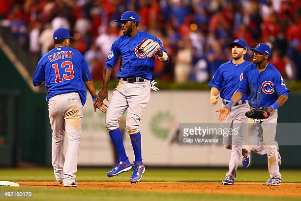 Starlin Castro of the Chicago Cubs celebrates with Dexter Fowler of the Chicago Cubs after the Chicago Cubs defeat the St Louis Cardinals in game two...