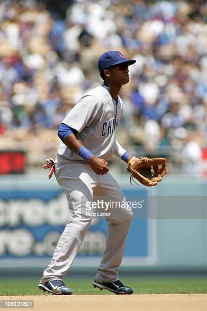 Starlin Castro of the Chicago Cubs plays shortstop during the game against the Los Angeles Dodgers at Dodger Stadium on July 10 2010 in Los Angeles...