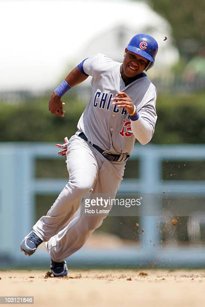 Starlin Castro of the Chicago Cubs runs to third base during the game against the Los Angeles Dodgers at Dodger Stadium on July 10 2010 in Los...