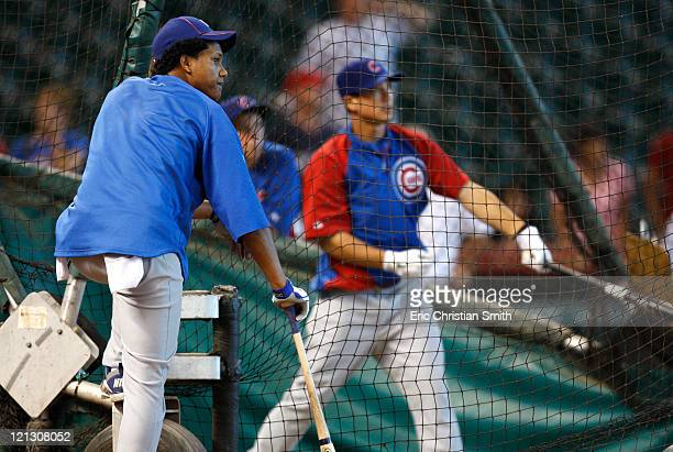 Starlin Castro of the Chicago Cubs waits to enter the batting cage before their game against the Houston Astros at Minute Maid Park on August 15 2011...