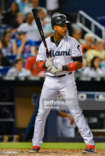 Starlin Castro of the Miami Marlins at bat against the Chicago Cubs at Marlins Park on April 17 2019 in Miami Florida