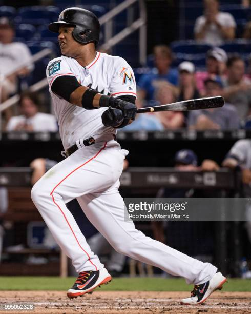 Starlin Castro of the Miami Marlins at bat during the game against the Milwaukee Brewers at Marlins Park on July 9 2018 in Miami Florida