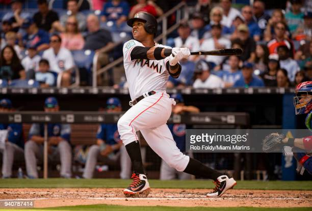 Starlin Castro of the Miami Marlins at bat during the game gainst the Chicago Cubs at Marlins Park on April 1 2018 in Miami Florida