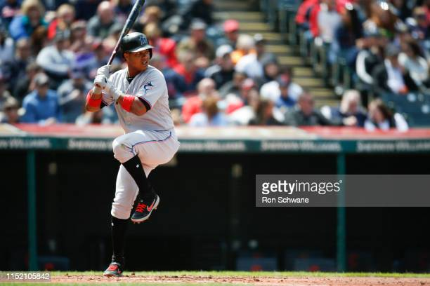 Starlin Castro of the Miami Marlins bats against the Cleveland Indians during the fourth inning at Progressive Field on April 24 2019 in Cleveland...
