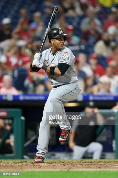 Starlin Castro of the Miami Marlins bats during the game against the Philadelphia Phillies at Citizens Bank Park on August 2 2018 in Philadelphia PA...