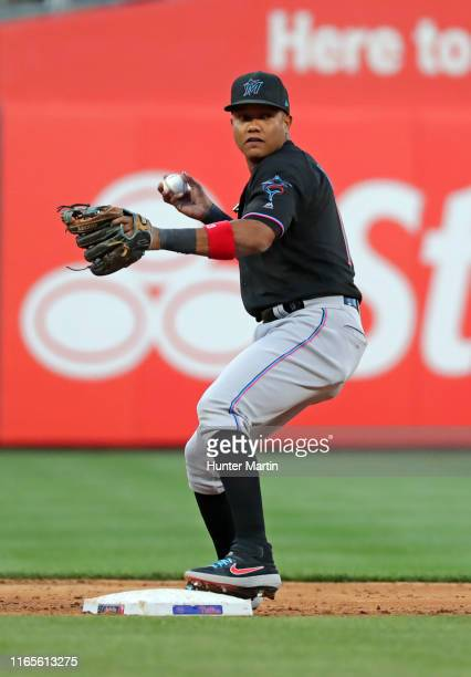 Starlin Castro of the Miami Marlins during a game against the Philadelphia Phillies at Citizens Bank Park on April 27 2019 in Philadelphia...