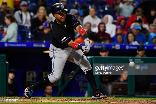 Starlin Castro of the Miami Marlins hits during the fourth inning at Citizens Bank Park on April 26 2019 in Philadelphia Pennsylvania The Phillies...