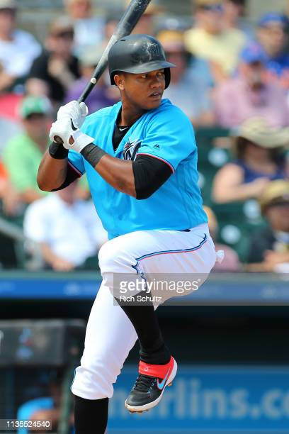 Starlin Castro of the Miami Marlins in action against the New York Mets during a spring training baseball game at Roger Dean Stadium on March 12 2019...