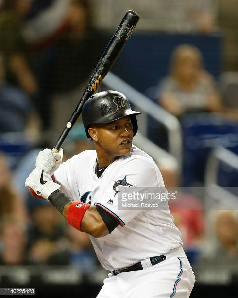 Starlin Castro of the Miami Marlins in action against the New York Mets at Marlins Park on April 01 2019 in Miami Florida