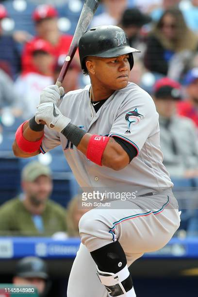 Starlin Castro of the Miami Marlins in action against the Philadelphia Phillies during a game at Citizens Bank Park on April 28 2019 in Philadelphia...