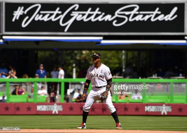 Starlin Castro of the Miami Marlins in the field in the seventh inning against the Chicago Cubs at Marlins Park on April 1 2018 in Miami Florida