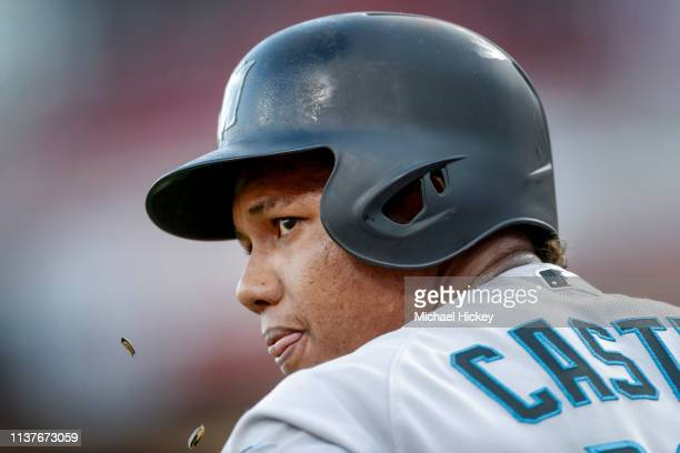 Starlin Castro of the Miami Marlins is seen during the game against the Cincinnati Reds at Great American Ball Park on April10 2019 in Cincinnati Ohio