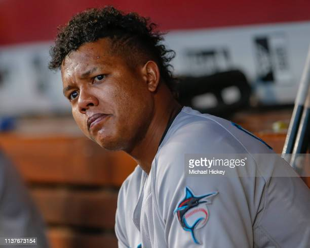 Starlin Castro of the Miami Marlins is seen on the bench during the game against the Cincinnati Reds at Great American Ball Park on April10 2019 in...