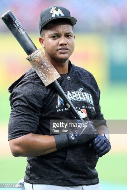 Starlin Castro of the Miami Marlins looks on before the game against the Philadelphia Phillies at Citizens Bank Park on August 2 2018 in Philadelphia...