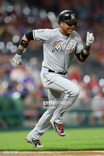 Starlin Castro of the Miami Marlins runs during the game against the Philadelphia Phillies at Citizens Bank Park on August 2 2018 in Philadelphia PA...