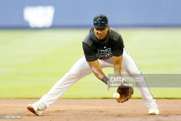 Starlin Castro of the Miami Marlins takes ground balls prior to the game against the New York Mets at Marlins Park on April 02 2019 in Miami Florida