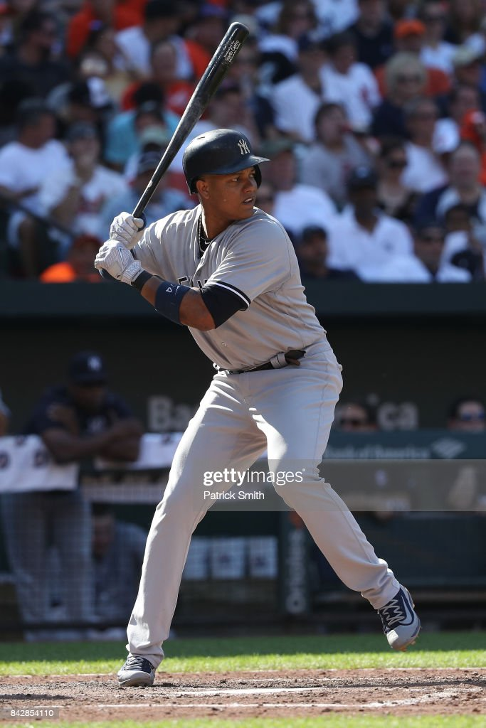 Starlin Castro #14 of the New York Yankees bats against the Baltimore Orioles at Oriole Park at Camden Yards on September 4, 2017 in Baltimore, Maryland.
