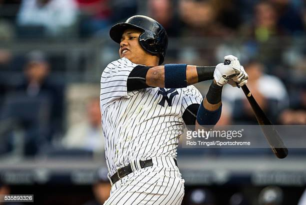 Starlin Castro of the New York Yankees bats during the game against Kansas City Royals at Yankee Stadium on May 10 2016 in the Bronx borough of New...