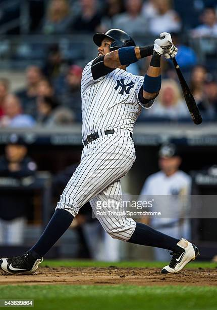 Starlin Castro of the New York Yankees bats during the game against the Kansas City Royals at Yankee Stadium on May 12 2016 in the Bronx borough of...