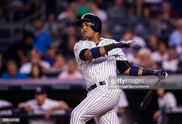 Starlin Castro of the New York Yankees bats during the game against the Toronto Blue Jays at Yankee Stadium on August 16 2016 in the Bronx borough of...