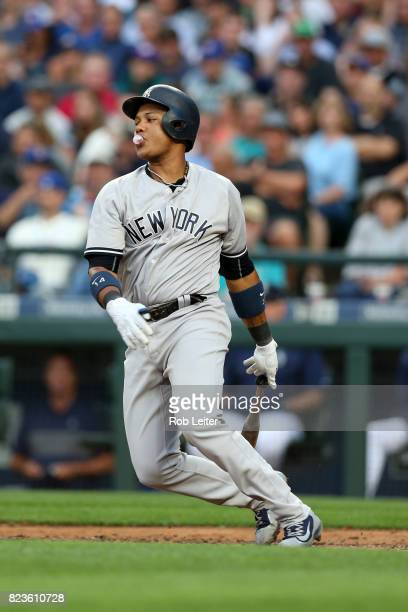 Starlin Castro of the New York Yankees bats during the game against the Seattle Mariners at Safeco Field on July 20 2017 in Seattle Washington The...