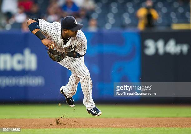 Starlin Castro of the New York Yankees defends his position during the game against the Toronto Blue Jays at Yankee Stadium on August 16 2016 in the...