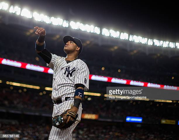 Starlin Castro of the New York Yankees looks on during the game against the San Francisco Giants at Yankee Stadium on July 22 2016 in the Bronx...