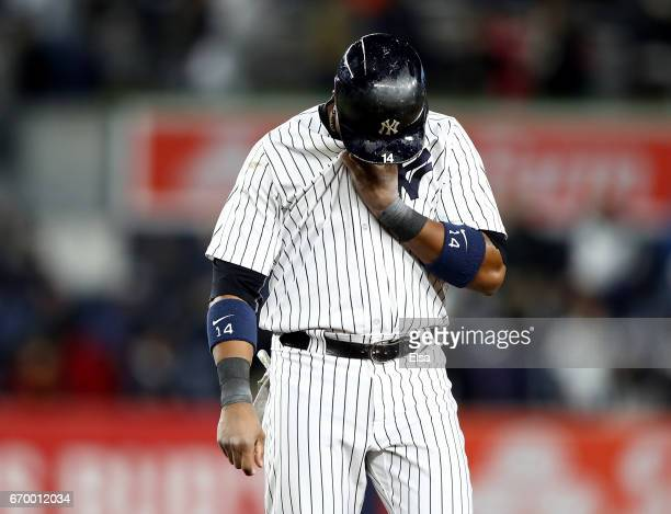 Starlin Castro of the New York Yankees reacts to the loss to the Chicago White Sox on April 18, 2017 at Yankee Stadium in the Bronx borough of New...