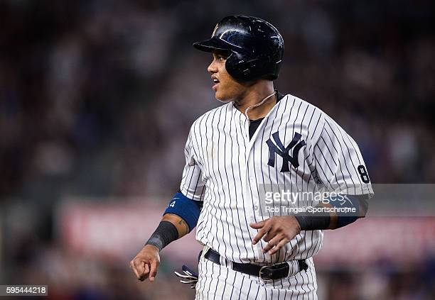 Starlin Castro of the New York Yankees runs the bases during the game against the Toronto Blue Jays at Yankee Stadium on August 16 2016 in the Bronx...