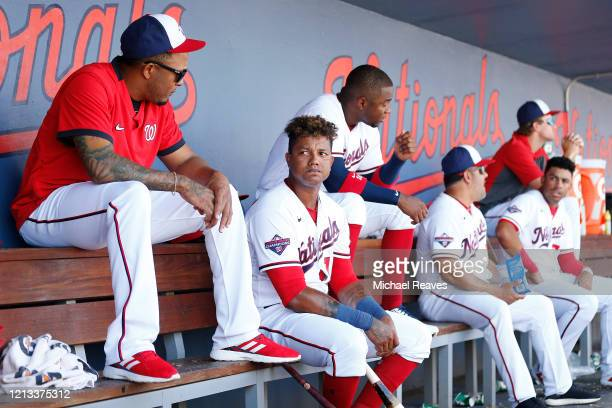 Starlin Castro of the Washington Nationals looks on in the dugout against the New York Yankees in the bottom of the fourth inning of a Grapefruit...