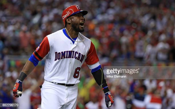 Starling Marte of the Dominican Republic is celebrates after hitting a solo home run during the eighth inning of a Pool C game of the 2017 World...