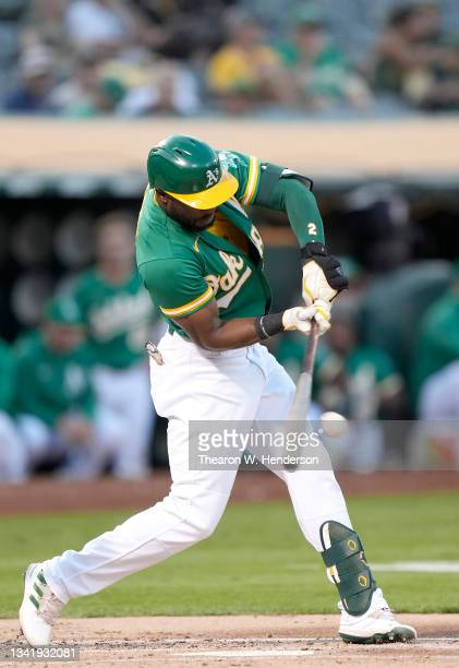 Starling Marte of the Oakland Athletics bats against the Seattle Mariners in the bottom of the first inning at RingCentral Coliseum on September 21,...