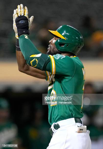 Starling Marte of the Oakland Athletics celebrates after he hit a solo home run against the Seattle Mariners in the bottom of the fourth inning at...