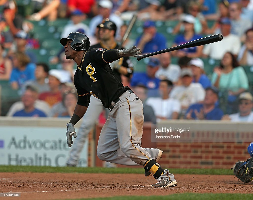 Starling Marte #6 of the Pittsburgh Pirates bats against the Chicago Cubs at Wrigley Field on July 5, 2013 in Chicago, Illinois. The Pirates defeated the Cubs 6-2.