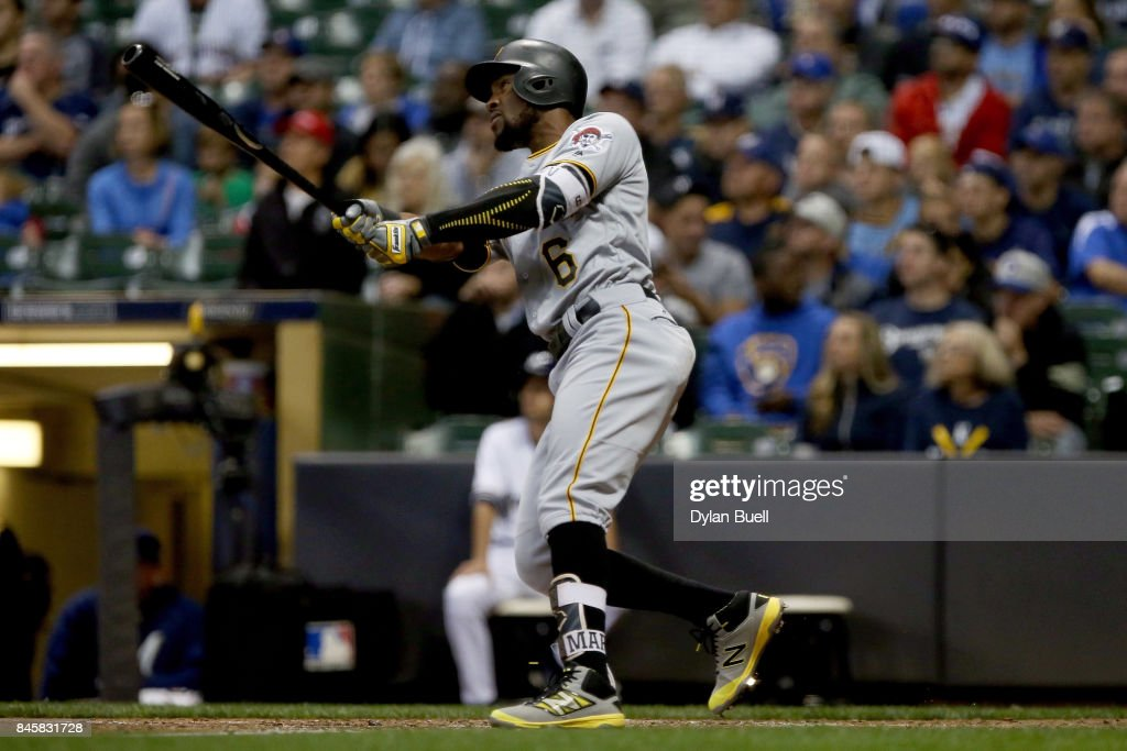 Starling Marte #6 of the Pittsburgh Pirates hits a home run in the fifth inning against the Milwaukee Brewers at Miller Park on September 11, 2017 in Milwaukee, Wisconsin.