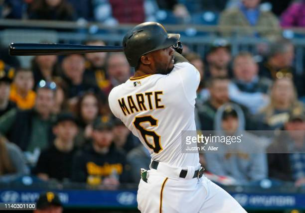 Starling Marte of the Pittsburgh Pirates in action against the St Louis Cardinals at PNC Park on April 3 2019 in Pittsburgh Pennsylvania