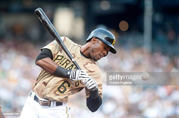Starling Marte of the Pittsburgh Pirates is hit by a pitch during the first inning against the Houston Astors at PNC Park on May 17 2013 in...