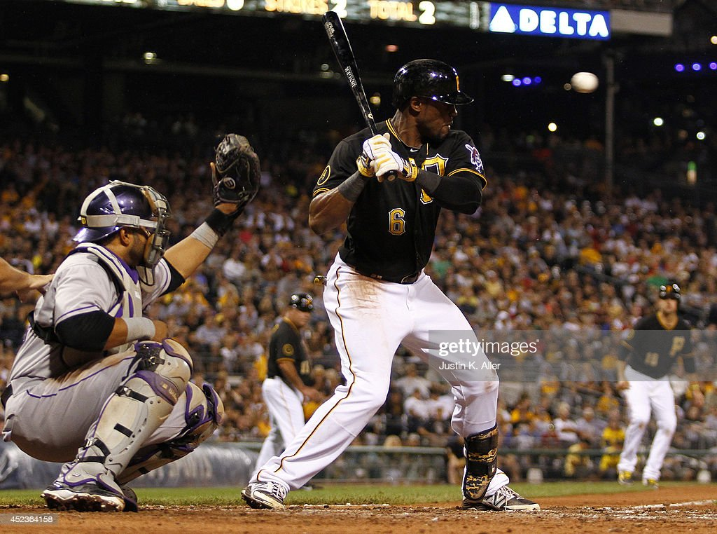Starling Marte #6 of the Pittsburgh Pirates is hit in the head by a pitch in the seventh inning against the Colorado Rockies during the game at PNC Park July 18, 2014 in Pittsburgh, Pennsylvania.