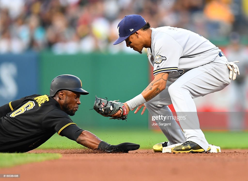 Starling Marte #6 of the Pittsburgh Pirates is picked off at second base by Orlando Arcia #3 of the Milwaukee Brewers during the fourth inning at PNC Park on July 18, 2017 in Pittsburgh, Pennsylvania.