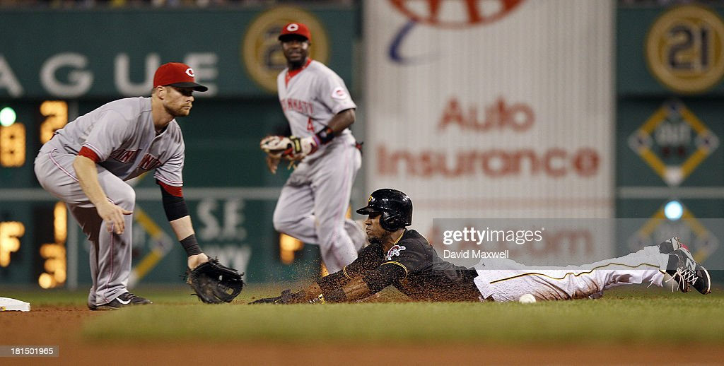 Starling Marte #6 of the Pittsburgh Pirates is safe at second with a stolen base ahead of the throw to Zack Cozart #2 of the Cincinnati Reds during the seventh inning of their game on September 21, 2013 at PNC Park in Pittsburgh Pennsylvania. The Pirates defeated the Reds 4-2.