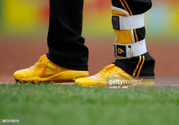 Starling Marte of the Pittsburgh Pirates is seen wearing Adidas baseball cleats against the St Louis Cardinals at PNC Park on April 29 2018 in...
