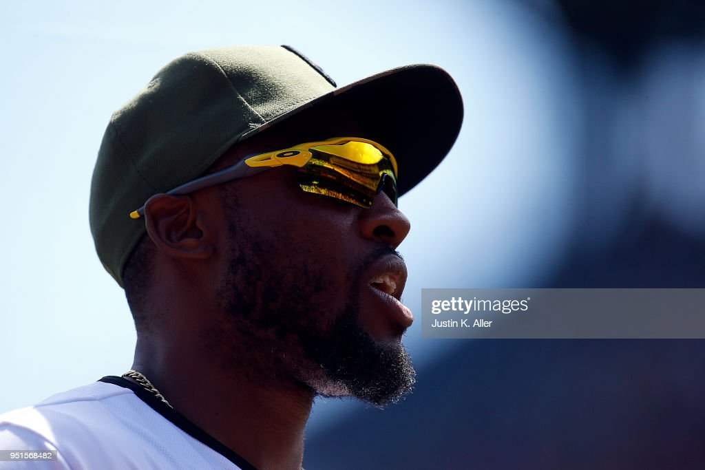 Starling Marte #6 of the Pittsburgh Pirates look on against the Detroit Tigers during interleague play at PNC Park on April 26, 2018 in Pittsburgh, Pennsylvania.