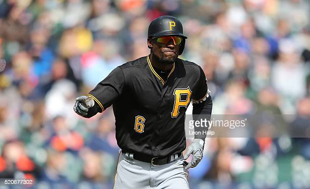Starling Marte of the Pittsburgh Pirates points to the dugout after hitting a two run home run in the sixth inning of the interleague game against...