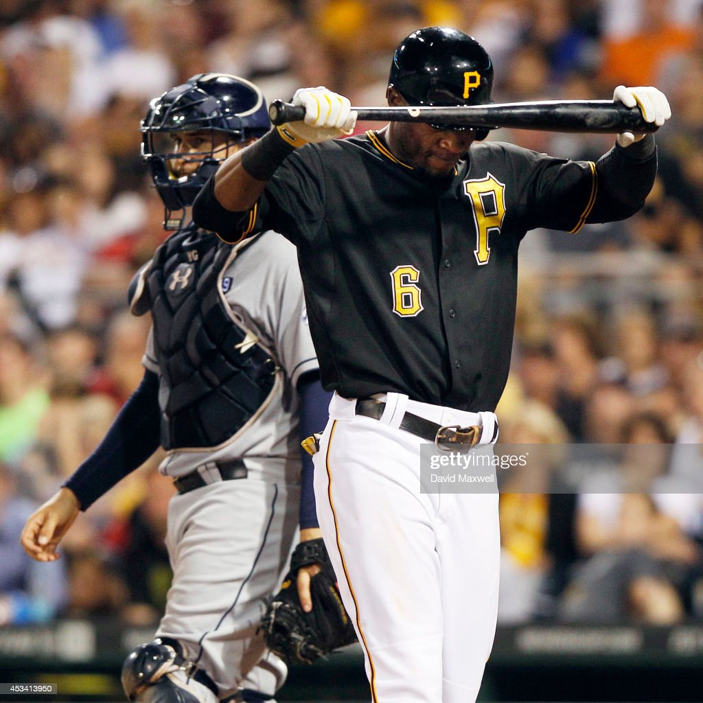 Starling Marte #6 of the Pittsburgh Pirates reacts after striking out against the San Diego Padres during the eighth inning of their game on August 9, 2014 at PNC Park in Pittsburgh, Pennsylvania. The Padres defeated the Pirates 2-1.