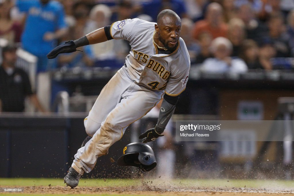 Starling Marte #6 of the Pittsburgh Pirates scores a run in the seventh inning against the Miami Marlins at Marlins Park on April 15, 2018 in Miami, Florida. All players are wearing #42 in honor of Jackie Robinson Day.