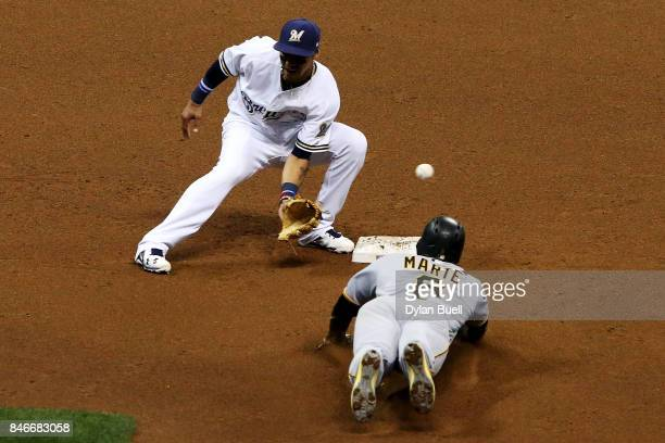 Starling Marte of the Pittsburgh Pirates steals second base past Orlando Arcia of the Milwaukee Brewers in the fifth inning at Miller Park on...