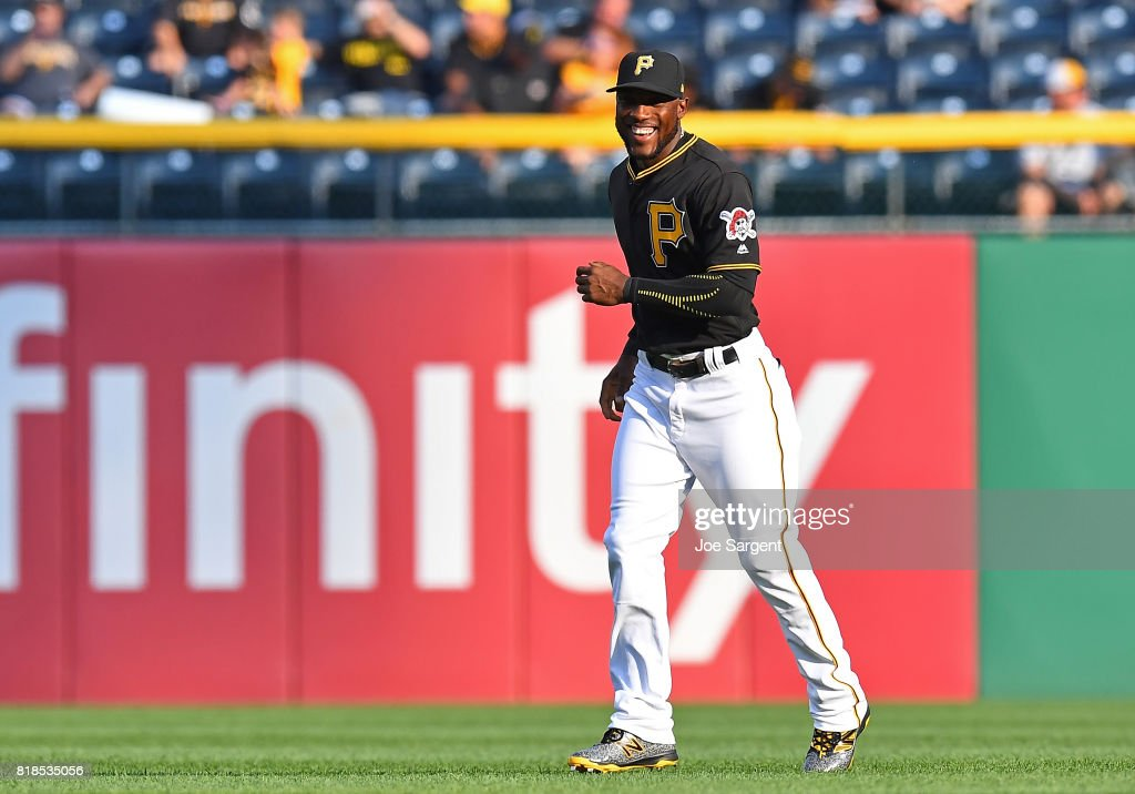 Starling Marte #6 of the Pittsburgh Pirates warms up prior to the game against the Milwaukee Brewers at PNC Park on July 18, 2017 in Pittsburgh, Pennsylvania.